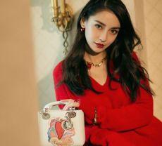 组图:angelababy红毛衣彰显浪漫情怀 反季节穿搭魅力任性